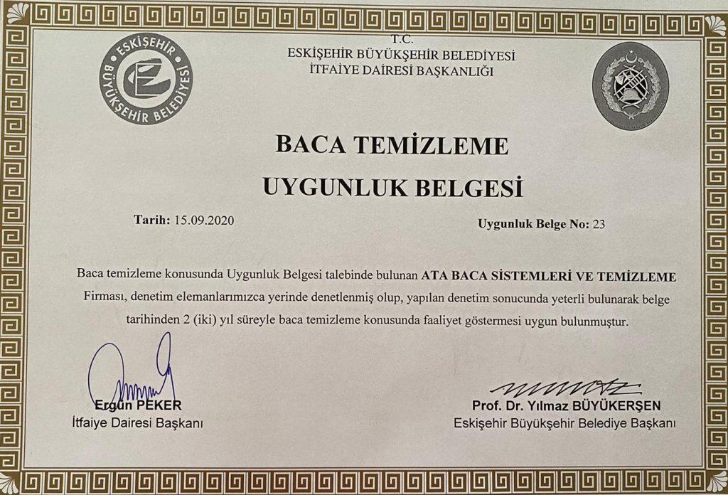 Eskişehir Yetki belgeli Baca temizleme